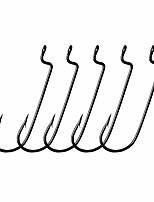 cheap -30pcs/Pack Offset Fishing Hooks Worm Hooks Black/Red High Carbon Steel Senko Bait Fishing Hooks 4/0 3/0 2/0 1/0 1# (Black, 1#)