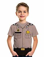 cheap -Kids Boys' T shirt Tee Graphic 3D Print Short Sleeve Active Khaki