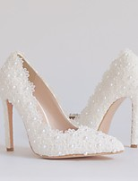cheap -Women's Wedding Shoes Stiletto Heel Pointed Toe Vintage Sexy Minimalism Wedding Party & Evening Lace PU Pearl Satin Flower Lace Solid Colored White