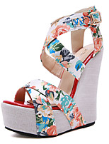 cheap -Women's Sandals Wedge Heel Open Toe Classic Daily PU Color Block Nude