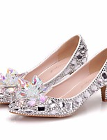 cheap -Women's Wedding Shoes Pumps Pointed Toe Business Sexy Minimalism Party & Evening Office & Career PU Rhinestone Crystal Sparkling Glitter Solid Colored Color Block Silver Rainbow