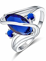 cheap -Silver Created Blue Sapphire Quatrz Filled Marquise Cut Ring for Women Size 10