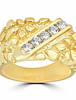 cheap -Silver Men's Silver Nugget Ring - 14k Gold Plated - Iced Out - Pinky or Ring Finger