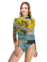 cheap -Women's New Vacation Fashion One Piece Swimsuit Color Block 3D Tummy Control Print Bodysuit Normal High Neck Swimwear Bathing Suits Yellow / Party