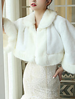 cheap -3/4 Length Sleeve Coats / Jackets / Shawls Faux Fur Wedding / Party / Evening Shawl & Wrap / Women's Wrap With Fur