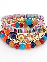 cheap -Women's Bead Bracelet Wrap Bracelet Vintage Bracelet Geometrical Precious Boho Alloy Bracelet Jewelry Rainbow / White For Christmas Party Wedding Daily Holiday