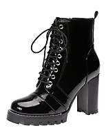 cheap -Women's Boots Chunky Heel Round Toe Booties Ankle Boots Classic Daily PU Solid Colored Black / Booties / Ankle Boots