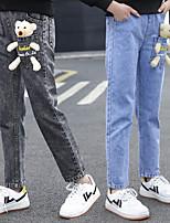 cheap -Kids Girls' Jeans Black Solid Colored Ruched Basic Vintage Black Blue