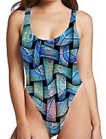 cheap -Women's New Sexy Classic Monokini Swimsuit Color Block Geometric Tummy Control Slim Print Bodysuit Normal Strap Swimwear Bathing Suits Blue / One Piece / Party
