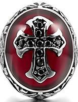 cheap -men's stainless steel ring cz silver tone black red cross knight fleur de lis oval size12