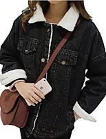 cheap -ladies warm winter coat winter jacket fur denim jackets black s