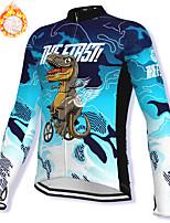 cheap -21Grams Men's Long Sleeve Cycling Jacket Winter Fleece Spandex Blue Dinosaur Bike Jacket Mountain Bike MTB Road Bike Cycling Fleece Lining Warm Sports Clothing Apparel / Stretchy / Athleisure