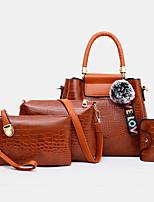 cheap -women 4pcs casual handbag solid crocodile pattern fluffy ball shoulder bag