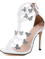 cheap -Women's Wedding Shoes Pumps Peep Toe Casual Daily Walking Shoes PVC Rhinestone Bowknot Solid Colored Almond White Black