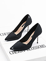 cheap -Women's Wedding Shoes Pumps Pointed Toe Casual Daily Walking Shoes Nubuck Sequin Solid Colored Black Blue Pink