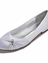 cheap -Women's Wedding Shoes Flat Heel Round Toe Classic Sweet Wedding Party & Evening Satin Rhinestone Crystal Solid Colored White Black Purple
