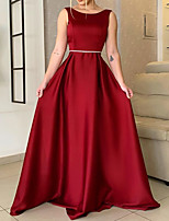 cheap -A-Line Beautiful Back Elegant Wedding Guest Formal Evening Dress Boat Neck Sleeveless Sweep / Brush Train Satin with Pleats 2021
