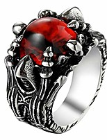 cheap -Vintage Gothic Stainless Steel Dragon Claw Red Devil Evil Eye Ring,Size 13