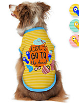 cheap -Dog Shirt / T-Shirt Print Beach Adorable Cute Casual / Daily Dog Clothes Puppy Clothes Dog Outfits Breathable Yellow Blue Pink Costume for Girl and Boy Dog Polyster S M L XL
