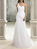 cheap -Sheath / Column Beautiful Back Elegant Engagement Formal Evening Dress One Shoulder Sleeveless Sweep / Brush Train Chiffon with Crystals 2020