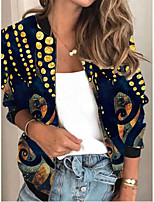 cheap -Women's Print Patchwork Active Spring &  Fall Jacket Regular Daily Long Sleeve Air Layer Fabric Coat Tops Black