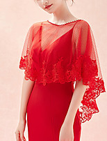cheap -Sleeveless Shawls / Capes Tulle Wedding / Party / Evening Shawl & Wrap / Women's Wrap With Lace