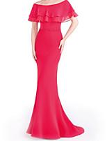cheap -Mermaid / Trumpet Minimalist Elegant Wedding Guest Formal Evening Dress Off Shoulder Short Sleeve Sweep / Brush Train Chiffon with Sleek 2021