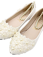 cheap -Women's Wedding Shoes Flat Heel Round Toe Sweet Wedding Walking Shoes PU Pearl Floral White