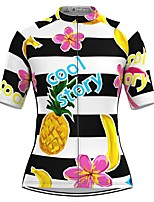 cheap -Women's Short Sleeve Cycling Jersey Black / White Stripes Fruit Bike Top Mountain Bike MTB Road Bike Cycling Breathable Quick Dry Sports Clothing Apparel / Stretchy / Athleisure
