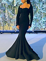 cheap -Mermaid / Trumpet Minimalist Elegant Engagement Formal Evening Dress Scoop Neck Long Sleeve Floor Length Satin with Pleats 2020
