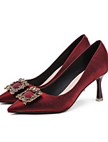 cheap -Women's Wedding Shoes Pumps Pointed Toe Casual Daily Walking Shoes Satin Rhinestone Solid Colored Black Red Beige