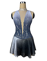 cheap -Figure Skating Dress Women's Girls' Ice Skating Dress Silver Spandex High Elasticity Training Competition Skating Wear Patchwork Crystal / Rhinestone Sleeveless Ice Skating Figure Skating / Kids