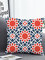 cheap -1 pcs Polyester Pillow Cover & Insert, Geometric Floral Simple Classic Square Zipper Polyester Traditional Classic