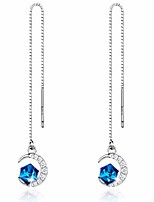 cheap -Silver Earrings for Women Blue Crystal Moon Pendant Needle Drop Threader Pull through Dangle Earrings for Girlfriend Daughter Mom Wife