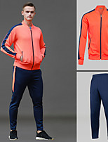 cheap -Men's Tennis Badminton Table Tennis Jacket Pants / Trousers Clothing Suit Long Sleeve Breathable Quick Dry Moisture Wicking Sports Outdoor Autumn / Fall Spring Winter Stripes Red / High Elasticity