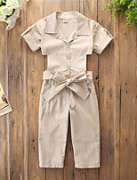 cheap -Kids Girls' Overall & Jumpsuit Solid Colored Bow Basic Cute Beige