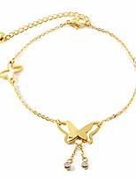 cheap -Stainless Steel Gold Color Butterfly Anklets for Women Girls Adjustable Beach Fashion Foot Jewelry