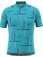 cheap -21Grams Men's Short Sleeve Cycling Jersey Green Polka Dot Bike Top Mountain Bike MTB Road Bike Cycling Breathable Sports Clothing Apparel / Stretchy / Athletic