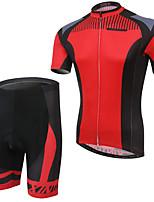 cheap -Men's Short Sleeve Cycling Jersey with Bib Shorts Elastane Red Bike Sports Clothing Apparel
