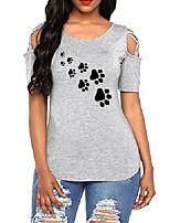 cheap -Women's Criss Cross Cotton Cold Shoulder Cutout T Shirt Casual Short Sleeve Plain Basic Tops Olive 2XL