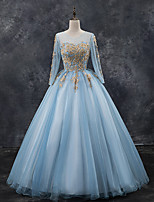 cheap -Ball Gown Luxurious Floral Quinceanera Prom Dress Illusion Neck Long Sleeve Floor Length Tulle with Pleats Appliques 2021