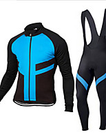 cheap -Men's Long Sleeve Cycling Jersey with Bib Tights Winter Elastane Black / Red Bule / Black Black Bike Sports Clothing Apparel