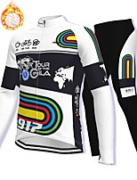 cheap -21Grams Men's Long Sleeve Cycling Jacket with Pants Winter Fleece Spandex Black / White Bike Fleece Lining Warm Sports Graphic Mountain Bike MTB Road Bike Cycling Clothing Apparel / Stretchy