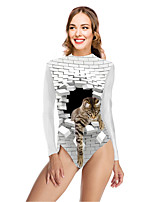 cheap -Women's New Vacation Cute One Piece Swimsuit Color Block 3D Tummy Control Print Bodysuit Normal High Neck Swimwear Bathing Suits White / Party / Animal