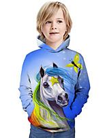 cheap -Kids Boys' Hoodie & Sweatshirt Horse Graphic 3D Animal Print Long Sleeve Active Blue
