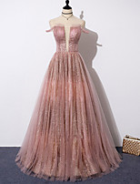 cheap -A-Line Sparkle Sexy Engagement Formal Evening Dress V Neck Sleeveless Floor Length Tulle with Pleats Sequin 2021