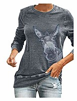 cheap -kalorywee women long sleeve tops giraffe/donkey funny printed casual sweatshirts crew neck pullover autumn winter jumper