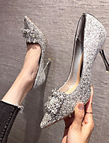 cheap -Women's Wedding Shoes Pumps Pointed Toe Casual Daily Walking Shoes Gleit Rhinestone Solid Colored Champagne Silver