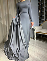 cheap -Sheath / Column Minimalist Elegant Wedding Guest Formal Evening Dress Jewel Neck Long Sleeve Floor Length Satin with Pleats 2021