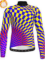 cheap -21Grams Men's Long Sleeve Cycling Jersey Winter Fleece Polyester Yellow Geometic Bike Jersey Top Mountain Bike MTB Road Bike Cycling Fleece Lining Warm Quick Dry Sports Clothing Apparel / Stretchy